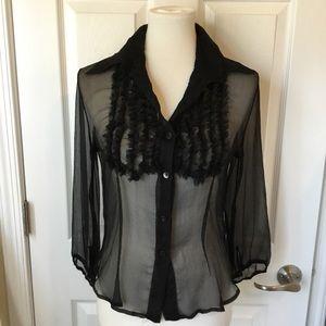 Tops - Silk chiffon sheer blouse. Size small.